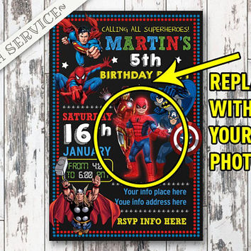 Superheroes Chalkboard Birthday Invitation Design, Superheroes Birthday, Superheroes Invitation, Superheroes party