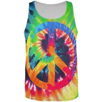 CUPUPWL Peace Sign Tie Dye All Over Mens Tank Top