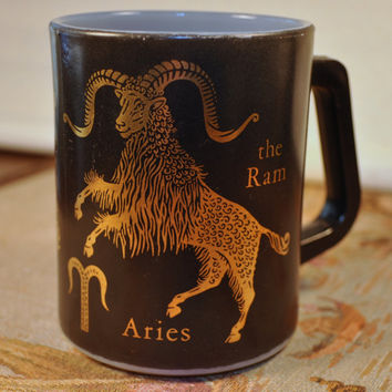 Vintage Federal Glass Aries Astrology Horoscope Zodiac Milk Glass Coffee Mug - Made in the USA
