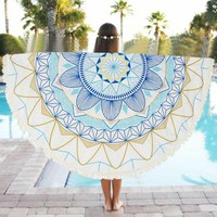 DCCKJG2 Special Round 150cm Beach Towel Scarve Wall Hanging Mandala Tapestry Beach Picnic Throw Rug Blanket Beach Towels Dec05