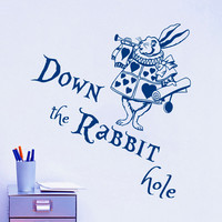 Wall Decal Quote Down the Rabbit Hole Rabbit Wall Sticker Alice in Wonderland Design Baby Nursery Room Kids Vinyl Mural M-65