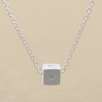 Womens Cube Love Silver Necklace + Gift Box Jewelry-82