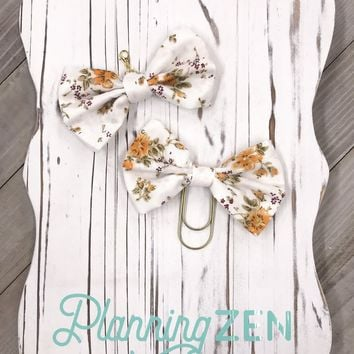 Autumn Colors Fabric Floral Bow Planner Charm