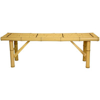 Oriental Furniture WD01-6A2 4ft. Japanese Bamboo Folding Bench - Light, Width - 47 Inches