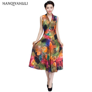 Summer Style Women Floral Print Dress V-neck Sleeveless Wrap Fit And Flare Sundress Long Beach Vestidos Dresses