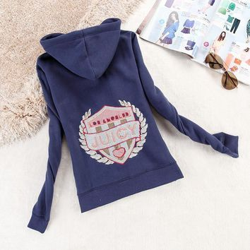 Juicy Couture Logo Sequin Velour Jacket 2199 Women Hoody Navy Blue - Ready Stock