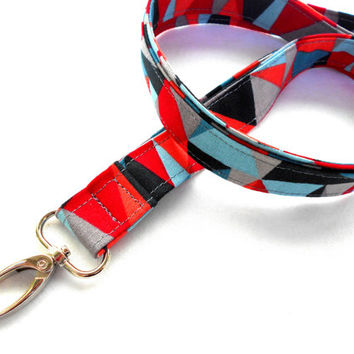 Geometric Triangles ID Badge Lanyard - Key Chain Red Blue Gray