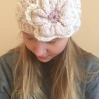 Alpaca Knit Headband • Pink Cream Ear Warmer with Flower Design • Winter Ear Warmer •