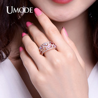UMODE 0.25ct Cubic Zirconia Cocktail Rings For Women Fashion Christmas Gifts Rose Gold color Jewelry Bague Femme UR0368C