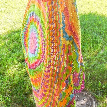 Crochet Bohemian Vest - Long Boho Hippie Vest - Adult One Size Fits All - Wool Mandala Vest