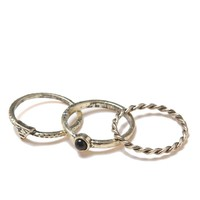 With Love From CA Black Midi Ring 3 Pack - Womens Jewelry - Gold - One