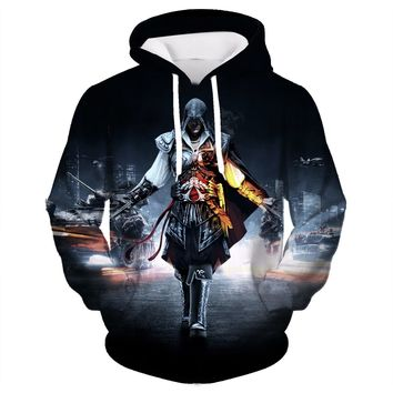 2017 Spring New Fashion Assassins Creed Hoodies Men Zipper Hip Hop Hooded Sweatshirt Casual Costumes Cosplay plus size