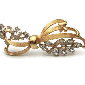 Vintage signed BSK Gold Tone Flourish Brooch with Clear Navette Crystals - Marquise and Small Round Cut Rhinestones - Ribbon Bow Pin