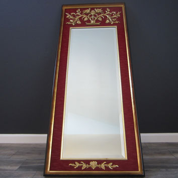 La Barge Baroque Style Red Fabric Gold Ornate Beveled Floor Mirror