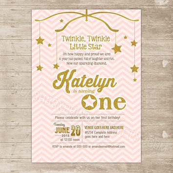 Pink and Gold 1st Birthday Invitation Printable Twinkle Little Star Invite glitter sparkle - Age One first birthday Chevron announcement