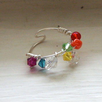 Rainbow Mermaid Crystal Ring  Wire Wrapped by SassiChic on Etsy