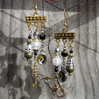 St. Anthony of Padua Assemblage Earrings - saint medal medallions catholic steampunk beaded dangle