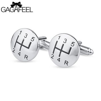 GAGAFEEL Men Cufflinks Car Linked File Round Sharp For Shirts Men Tie Clip Paint Color Copper Metal Jewelry Gift For Friendship