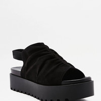 Ruched Peep Toe Flatform Slingback Sandals   Urban Outfitters