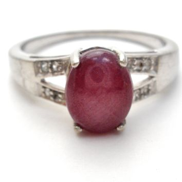 Ruby Ring Sterling Silver Size 9