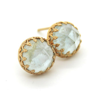 Aquamarine gemstone stud earrings - 14k Gold filled Crown settings seafoam aquamarine stone.