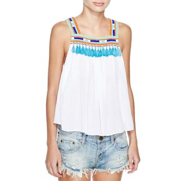 Piper by Townsen Womens Bacoor Beaded Tasseled Tank Top