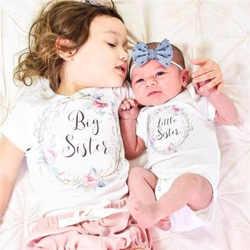Big Sister Little Sister Floral Infant Baby Onesuit Bodysuit And T-Shirt