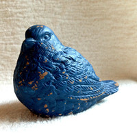 Shabby vintage distressed bird figurine navy blue blue cottage chic statue knickknack ornament