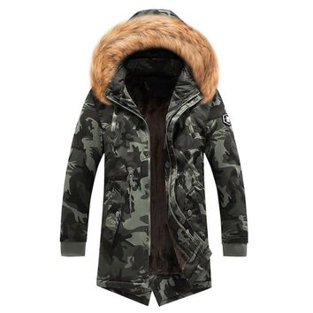 MORUANCLE Men's Warm Jackets And Coats Wool Lined Long Parkas With Fur Hood Military Style Camoufalge Trench Coat Windbreaker