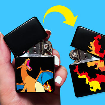 New! BOTH SIDES Charizard Pokemon Charmander Final Form Lighter With Flames On Back