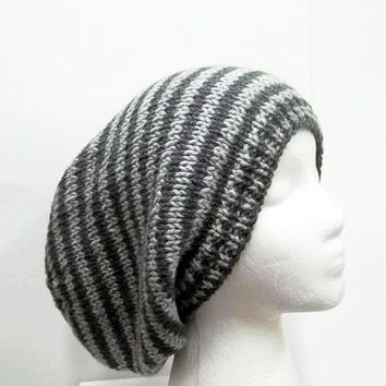 Slouchy hat, light gray and dark gray stripes, large size 5229