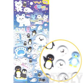 Polar Bear and Penguin Shaped Arctic Animal Puffy Stickers for Scrapbooking