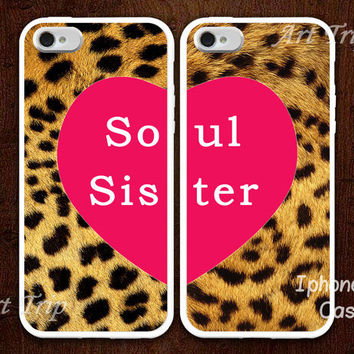 best friends iPhone 5 Case, soul sister iphone 5 case, Leopard Decal iphone case, Two Case Set
