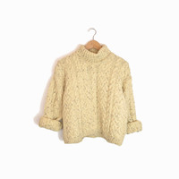 Vintage Cropped Cable Knit Turtleneck Sweater in Oatmeal Cream - women's s/m