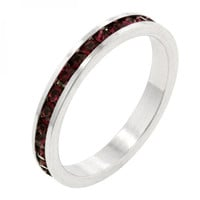 Stylish Stackables With Garnet Crystal Ring