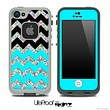 Turquoise, Black and Colorful Dotted Chevron Pattern Skin for the iPhone 5 or 4/4s LifeProof Case