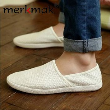 Merkmak Summer Breathable Men Hemp Knited Summer Flat Shoes Fashion Outdoor Style Light Soft Men Casual Leisure Male Footwear