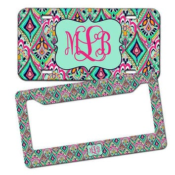monogrammed license plate lilly pulitzer inspired personalized monogrammed license plate car tag monogram