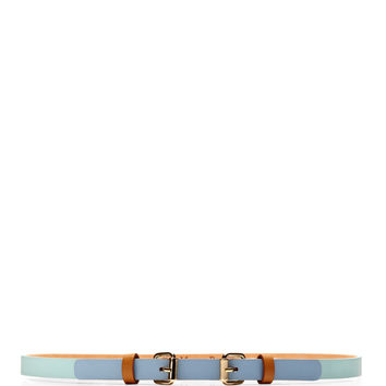 Double-Buckle Tricolor Skinny Leather Belt