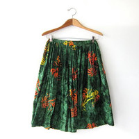 Vintage Palm Tree Skirt. Bali Skirt. Tropical Print Skirt. Tie Dye Boho Skirt.