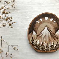 Wood burned Original Mountain and Moon Phases   New Edition   MADE TO ORDER
