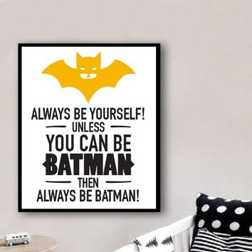 Batman Dark Knight gift Christmas New Batman Poster Colorful Super Hero Canvas Painting Quote Art Print Wall Picture Nursery Kids Room Home Decor No Frames AT_71_6