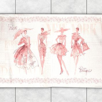 Fashion Sketchbook Pink Accent Rug