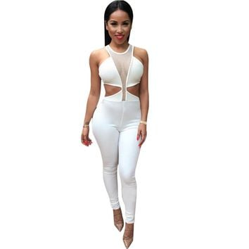 Women's Jumpsuit Overalls Sexy Waist Sleeveless Bodycon Party Long Bodysuit Overall Romper