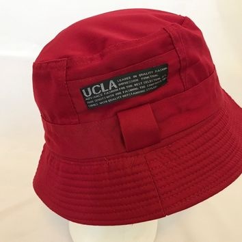 Bucket-Hat-Boonies-Hunting-Fishing-Outdoor-Men-Women Cap-Polyester-UCLA Red