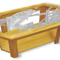 """Swim Meet Trout"" Fishing Etched Glass Art Coffee Tables"