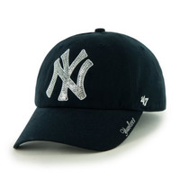 MLB New York Yankees Women's Sparkle Team Color Cap, One-Size, Navy