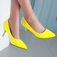 Mid Heels Pointed Toe Yellow Shoes Woman Pumps Stiletto White Bridal Shoes Ladies Shoes Size 34 -39  6700