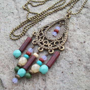 Chandelier Pendant Necklace with Petite Ball Chain - Gypsy Bohemain