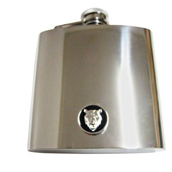 Round Bear Pendant 6 Oz. Stainless Steel Flask